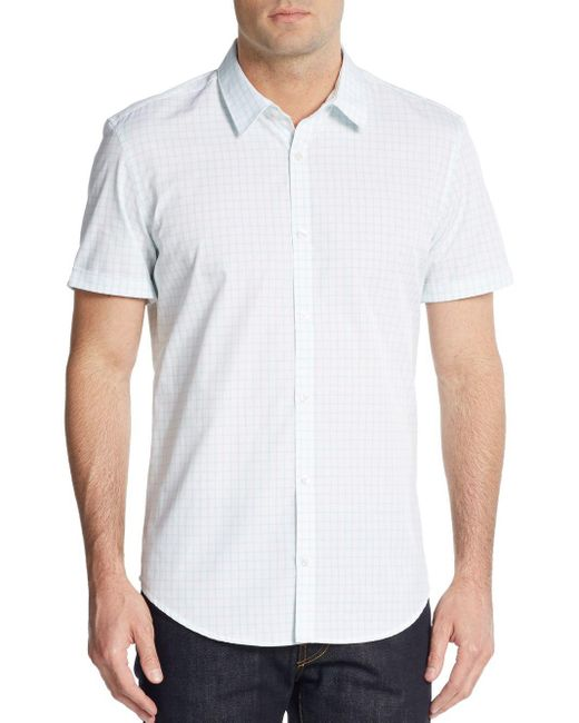 Calvin Klein | White Grid Print Cotton Shirt for Men | Lyst