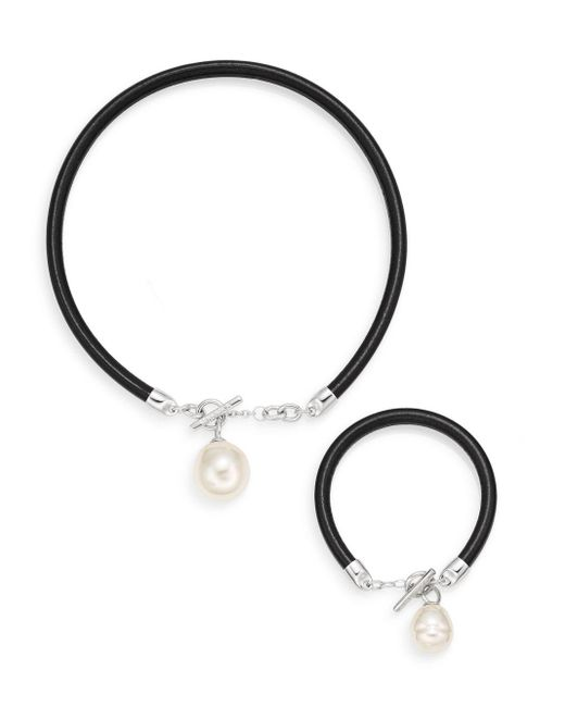 Majorica | Black Ophol 16mm-22mm White Baroque Pearl & Leather Pendant Necklace & Bracelet Gift Box Set | Lyst