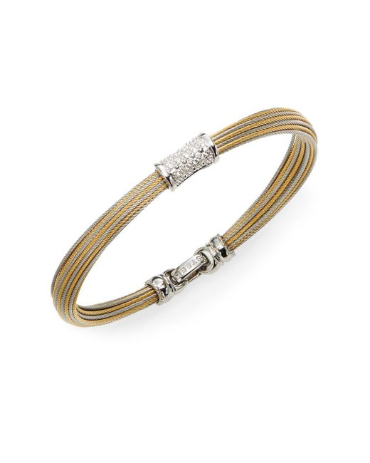 Alor | Metallic Classique Diamond, 18k Yellow Gold & Stainless Steel Bangle Bracelet | Lyst
