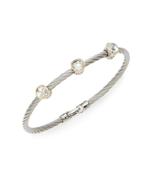 Alor | Metallic Classique White Topaz, 18k Yellow Gold & Stainless Steel Bangle Bracelet | Lyst