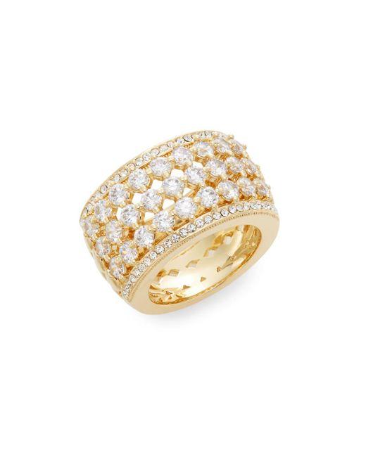 Adriana Orsini   Metallic Opulent White Stone Barrel Ring/goldtone   Lyst