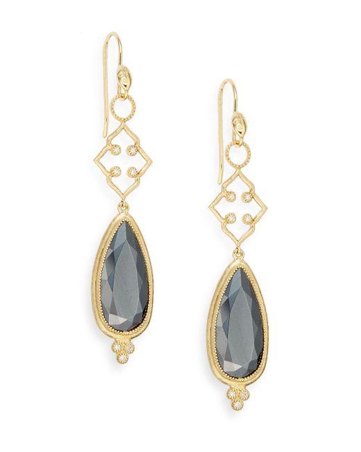 Jude Frances | Metallic Hematite, Diamond & 18k Yellow Gold Drop Earrings | Lyst