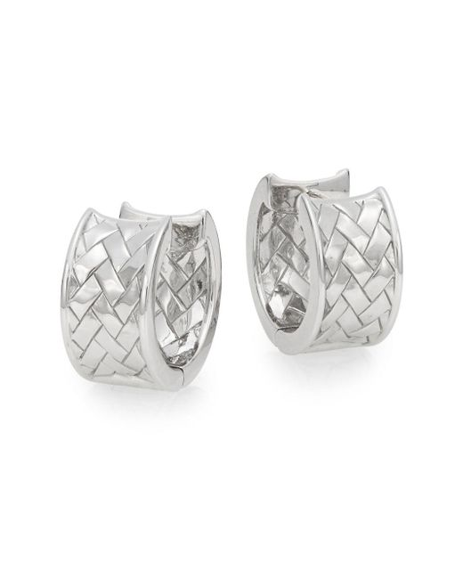 Saks Fifth Avenue | Metallic Sterling Silver Basket Weave Huggie Earrings | Lyst