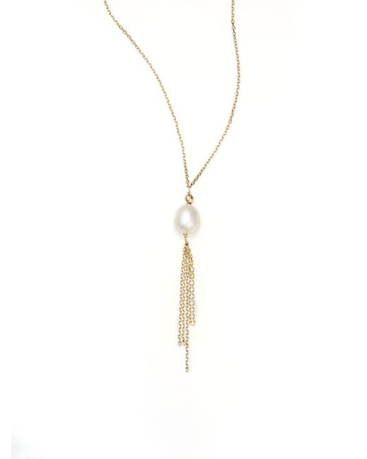 Effy | Metallic 7.5mm Pearl Tassel & 14k Yellow Gold Pendant Necklace | Lyst