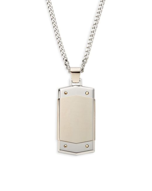 Saks Fifth Avenue | Metallic Stainless Steel & 14k Yellow Gold Tag Necklace for Men | Lyst