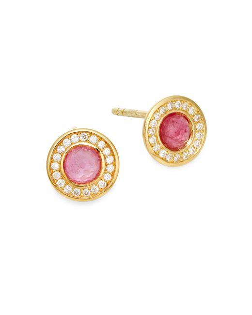 Ippolita   Metallic Lollipop Diamond, Pink Tourmaline & 18k Yellow Gold Stud Earrings   Lyst