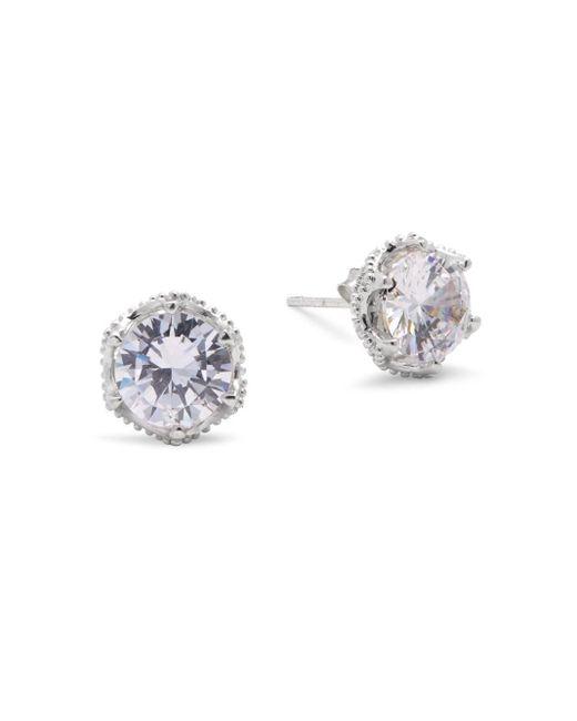 Ak Anne Klein   Metallic Cubic Zirconia & Sterling Silver Stud Earrings   Lyst