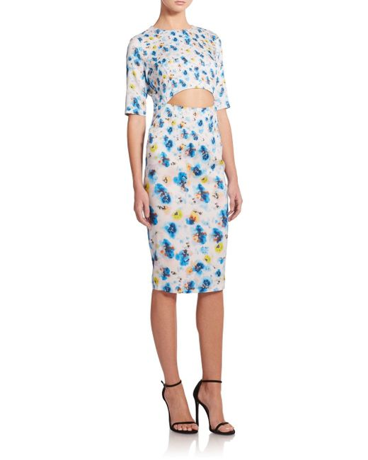 Suno | Blue Floral-print Cutout Sheath Dress | Lyst