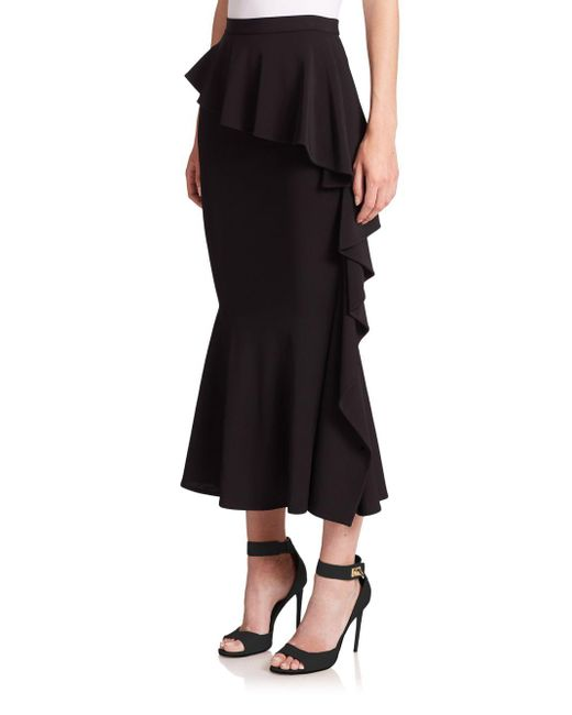 givenchy layered ruffle midi skirt in black lyst