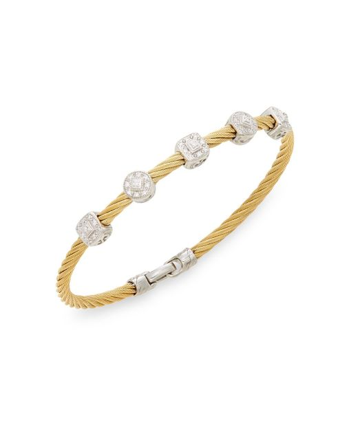 Alor | Metallic Diamond, 18k Yellow Gold & Steel Coil Bracelet | Lyst