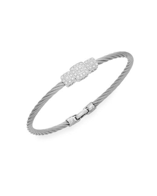 Alor | Diamond, 18k White Gold & Steel Coil Bracelet | Lyst