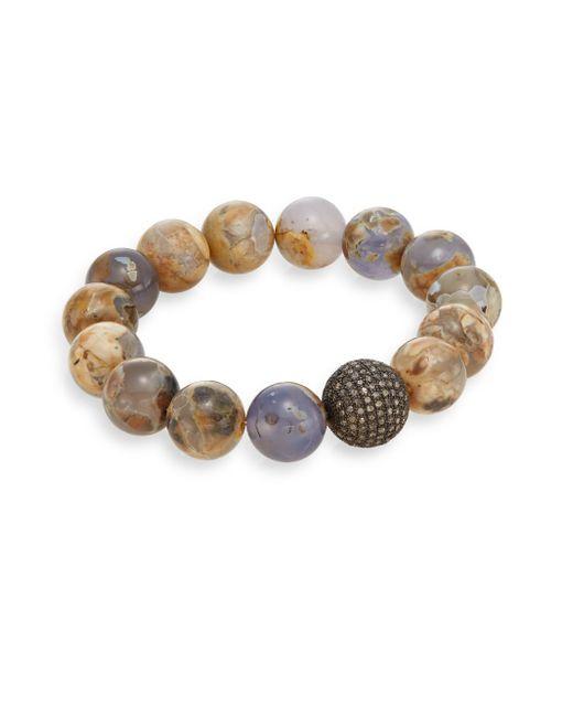 Bavna | Brown Diamond, Chalcedony & Sterling Silver Beaded Bracelet | Lyst