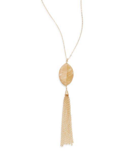 Saks Fifth Avenue   Metallic Agate Chain Tassel Pendant Necklace   Lyst