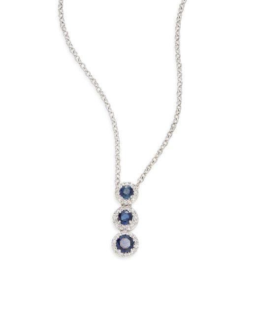 Saks Fifth Avenue | Sapphire, Diamond & 14k White Gold Triple-halo Pendant Necklace | Lyst