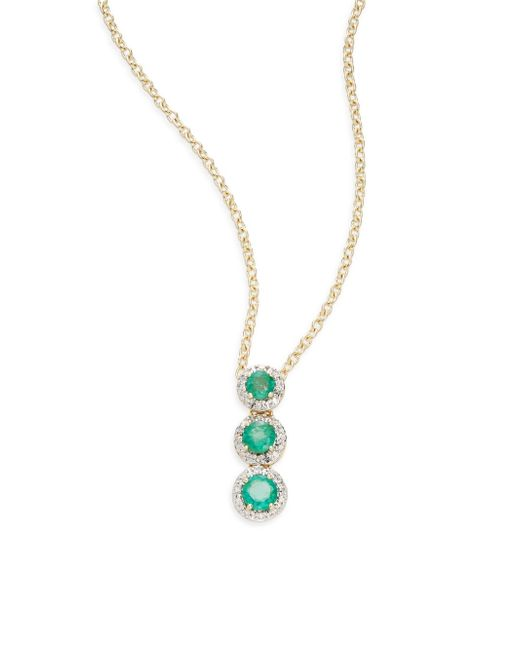 Saks Fifth Avenue | Blue Emerald, Diamond & 14k Yellow Gold Triple-halo Pendant Necklace | Lyst