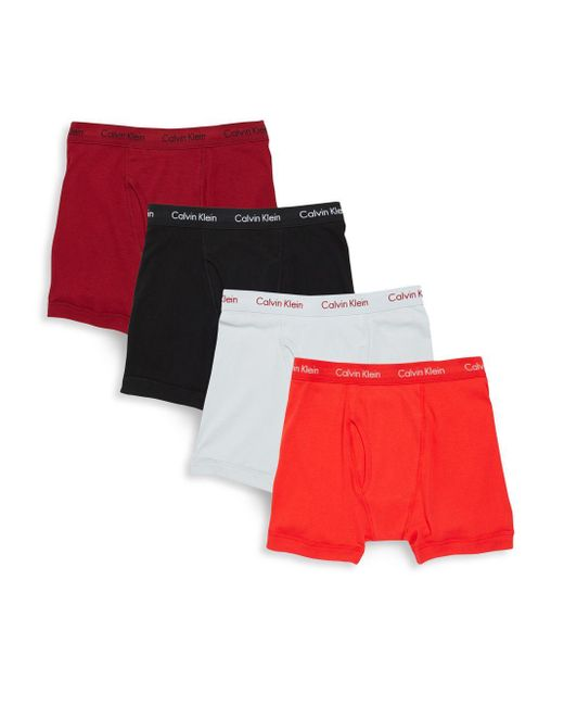 calvin klein cotton boxer briefs set of 4 in red for men. Black Bedroom Furniture Sets. Home Design Ideas