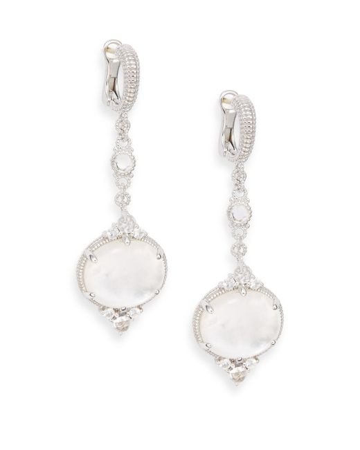 Judith Ripka | Allure White Sapphire, Rock Crystal, Mother-of-pearl & Sterling Silver Drop Earrings | Lyst