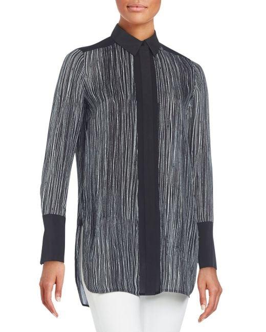 Vince | Black Wavy Striped Silk Blouse | Lyst