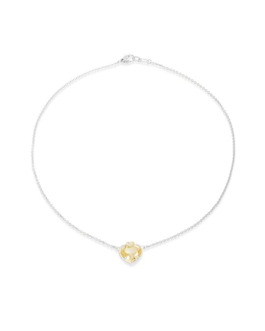 Judith Ripka | Metallic Canary Crystal, White Sapphire, Sterling Silver & 18k Yellow Gold Heart Pendant Necklace | Lyst