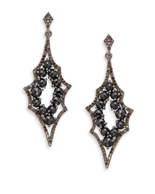 Bavna | 1.53 Tcw Diamonds, 8.47 Ct Black Spinel & Sterling Silver Earrings | Lyst