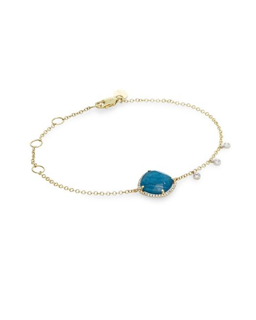 Meira T | Blue 14k Yellow Gold And White Gold Opal Bracelet With Diamonds | Lyst