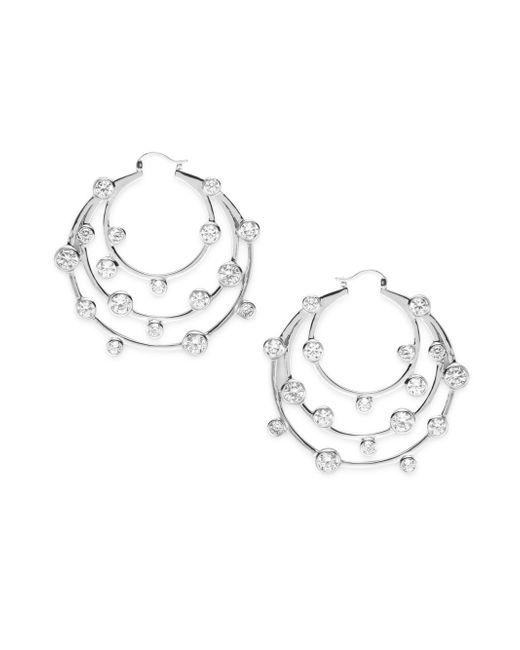 Noir Jewelry | Metallic Cubic Zirconia Tiered Circular Hoop Earrings- 2in | Lyst
