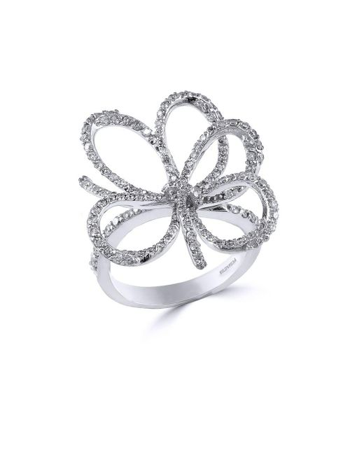 Effy | Metallic 14k White Gold Diamond Flower Ring | Lyst