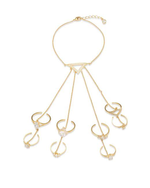 Noir Jewelry | Metallic Cubic Zirconia, Crystal & 18k Gold-plated Ring Bracelet | Lyst