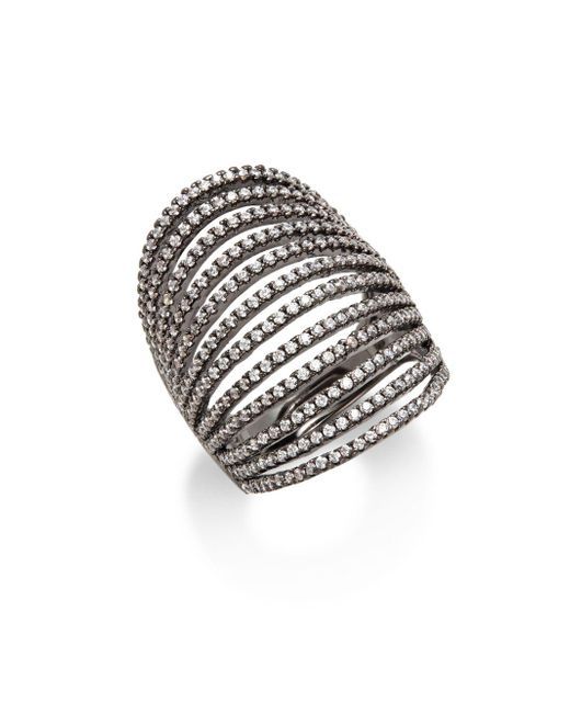 Noir Jewelry   Black Multilayered Crystal Set Ring   Lyst
