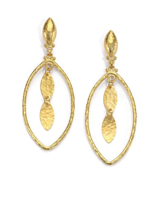 Gurhan   Metallic 24k Yellow Gold-layered Marquis Drop Earrings   Lyst