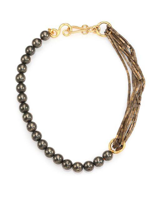 Stephanie Kantis | Metallic Allure Green Moss Agate & Hematite Beaded Necklace | Lyst