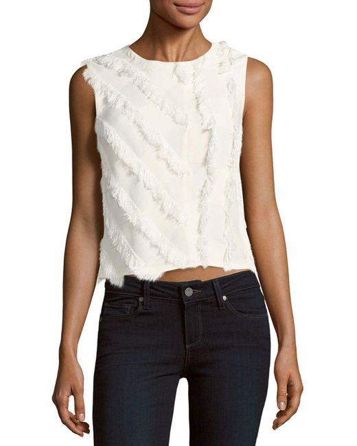 Rebecca Taylor | White Fringed Sleeveless Top | Lyst