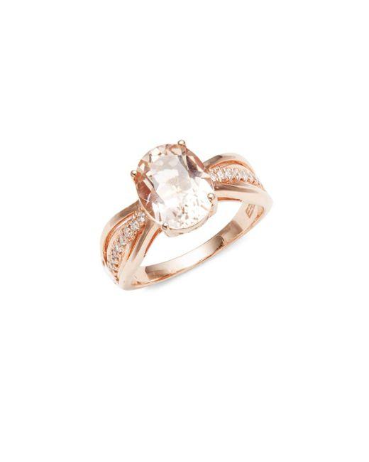 Effy   Metallic Diamond, Morganite & 14k Rose Gold Solid Fill Solitaire Ring   Lyst