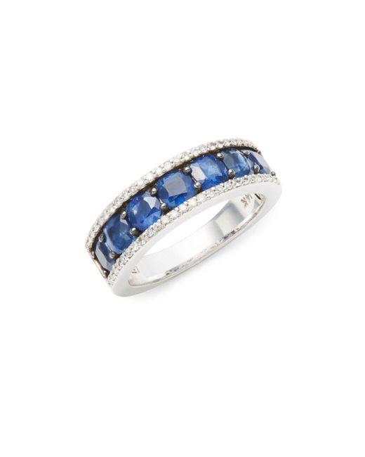 Effy | Multicolor Diamond, Natural Sapphire & 14k White Gold Band Ring | Lyst