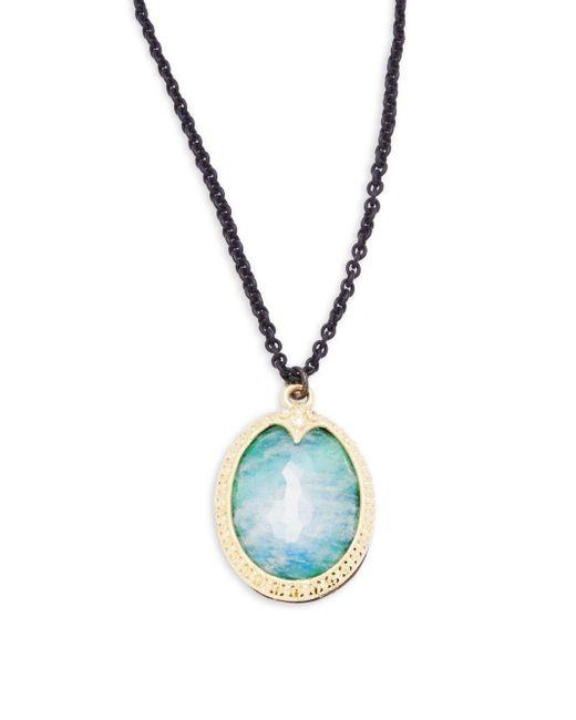 Armenta   Metallic Old World Malachite, Rainbow Moonstone, Diamond, 18k Yellow Gold & Sterling Silver Pendant Necklace   Lyst