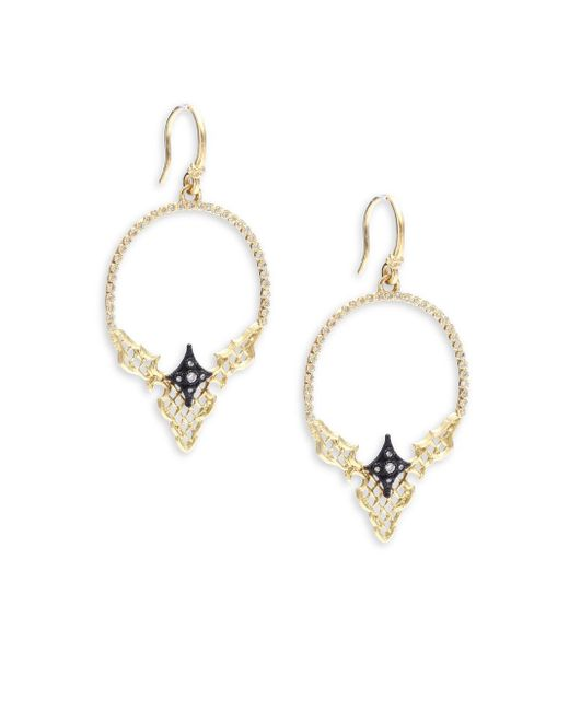 Armenta | Metallic Old World Diamond, 18k Yellow Gold & Sterling Silver Hoop Earrings- 2in | Lyst