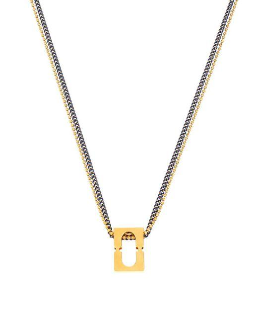 Diane von Furstenberg | Metallic Rectangle Chain-link Pendant Necklace | Lyst