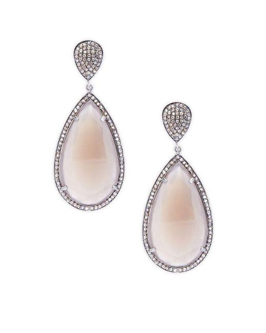 Bavna | Metallic Diamond & Peach Moonstone Drop Earrings | Lyst