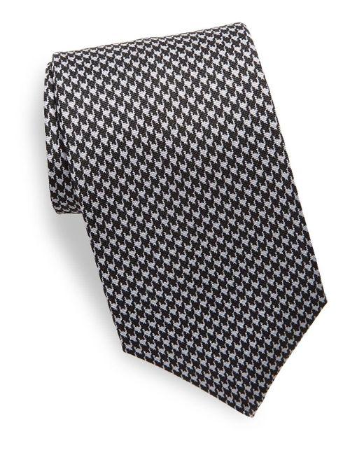 Saks Fifth Avenue | Black Houndstooth Silk Tie for Men | Lyst
