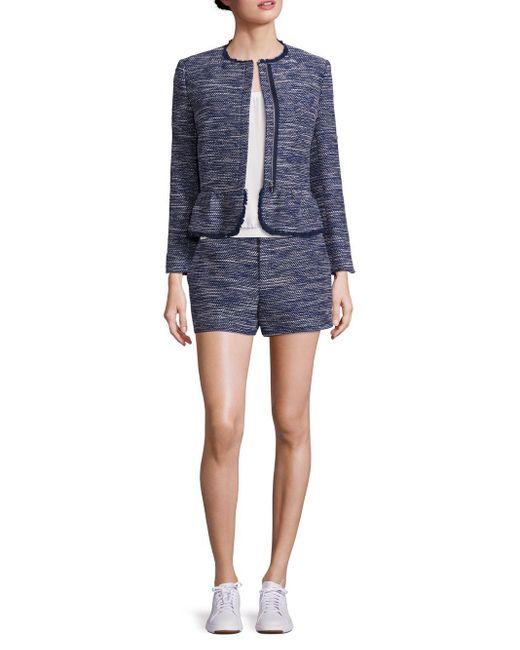 Joie   Blue Milligan Tweed Zip-front Jacket   Lyst