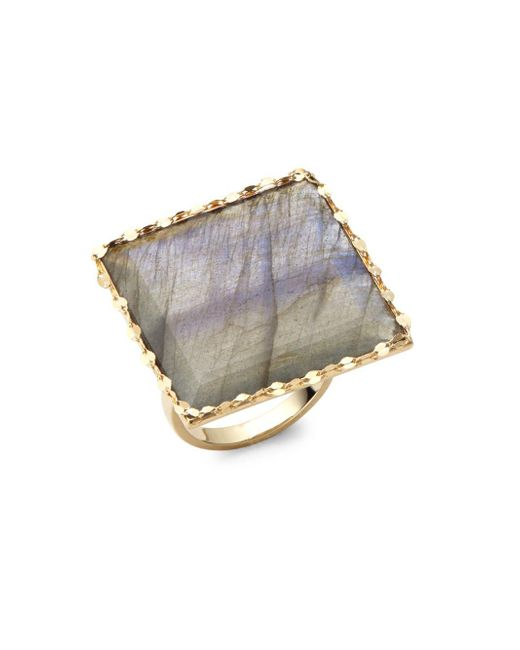 Lana Jewelry | Blue Gloss Studded Gold Ring | Lyst