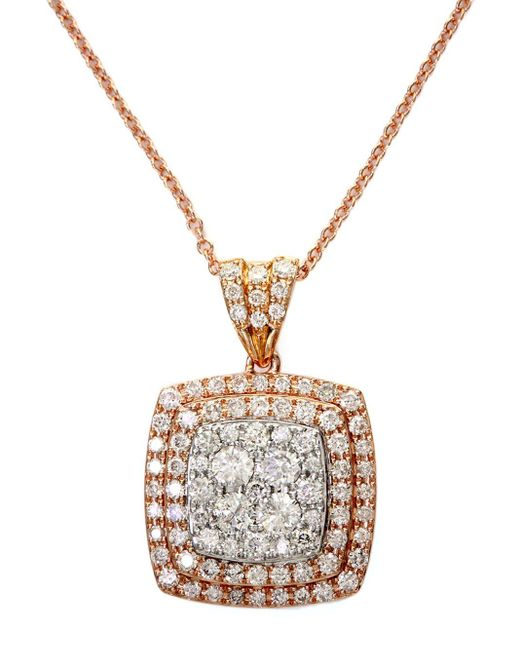 Effy | Metallic Diamond And 14k White And Rose Gold Pendant Necklace, 0.88 Tcw | Lyst