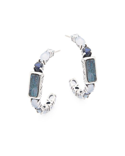 Stephen Dweck   Metallic Blue Chalcedony, Iolite, Crystal Quartz & Sterling Silver Earrings   Lyst