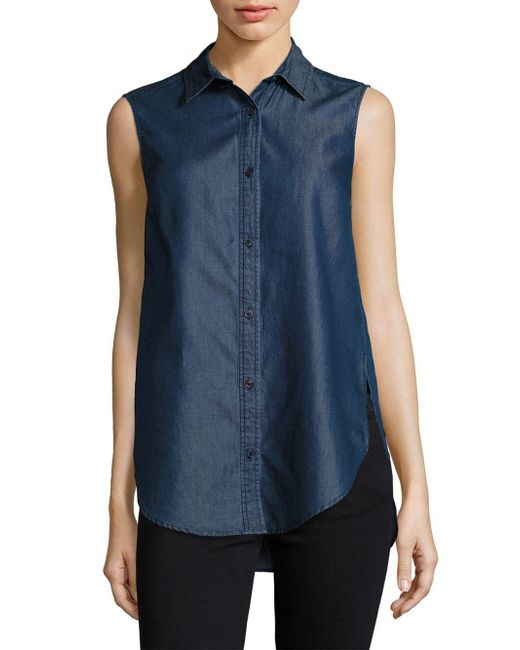 French Connection   Blue Chambray Top   Lyst