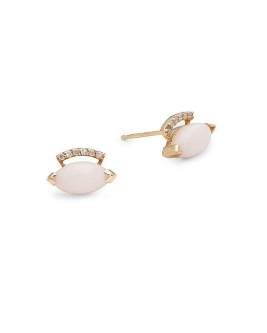 Paige Novick | Metallic Building Blocks Diamond, Pink Opal & 14k Yellow Gold Earrings | Lyst