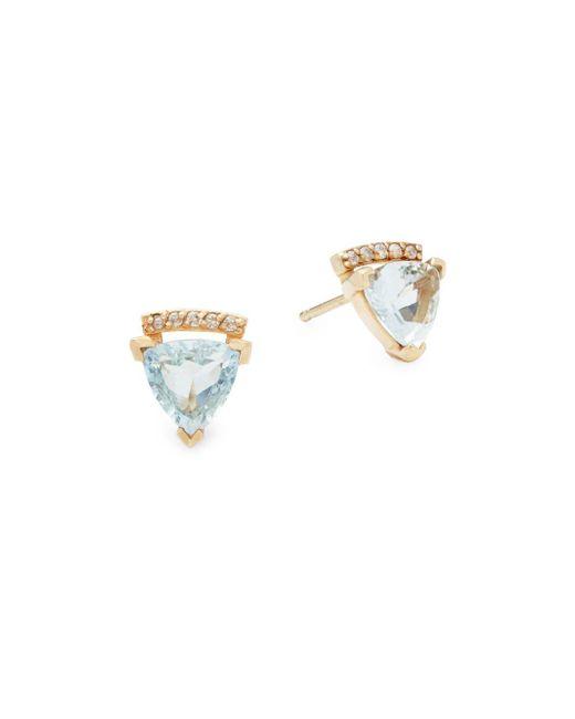 Paige Novick   Metallic Marta Diamond, Aquamarine & 14k Yellow Gold Stud Earrings   Lyst