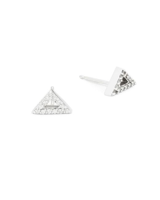 Paige Novick   Metallic Sasha Diamond & 14k White Gold Triangle Stud Earrings   Lyst