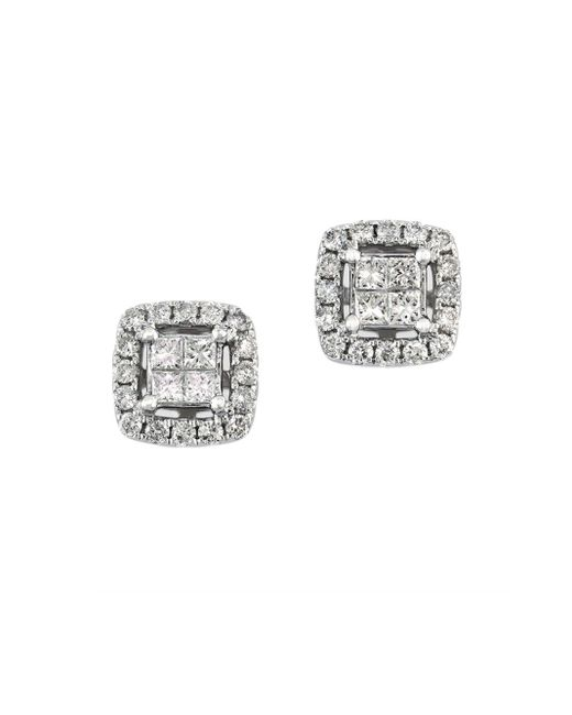 Effy | Metallic Bouquet Diamond And 14k White Gold Square Stud Earrings, 0.52 Tcw | Lyst