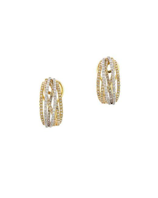 Effy | Metallic Diamond And 14k Yellow Gold Hoop Earrings, 0.78 Tcw | Lyst