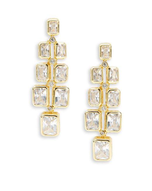 Saks Fifth Avenue   Metallic Cubic Zirconia And Goldtone Modern Earrings   Lyst